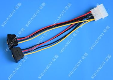 China Computer Molex 4 Pin To 2 x15 Pin SATA Data Cable Right Angle Pitch 5.08mm supplier