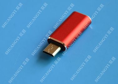 Red USB 3.1 Type C Male to Micro USB 5 Pin Micro USB Slim For Cell Phone