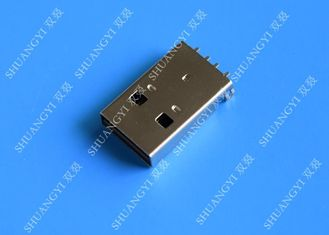 USB 2.0 A Male USB Charging Connector , Plug Jack Mounting Solder 4 Pin PCB Connector