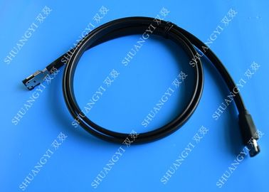 Black 7 Pin External SATA Cable , PC PCB ESATA To SATA Cable With Power